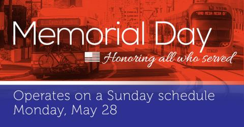 Holiday service on Memorial Day, May 28