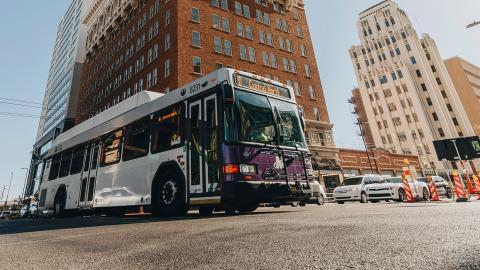 Bus drives in downtown Phoenix.