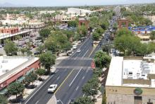 Aerial view of downtown Chandler.
