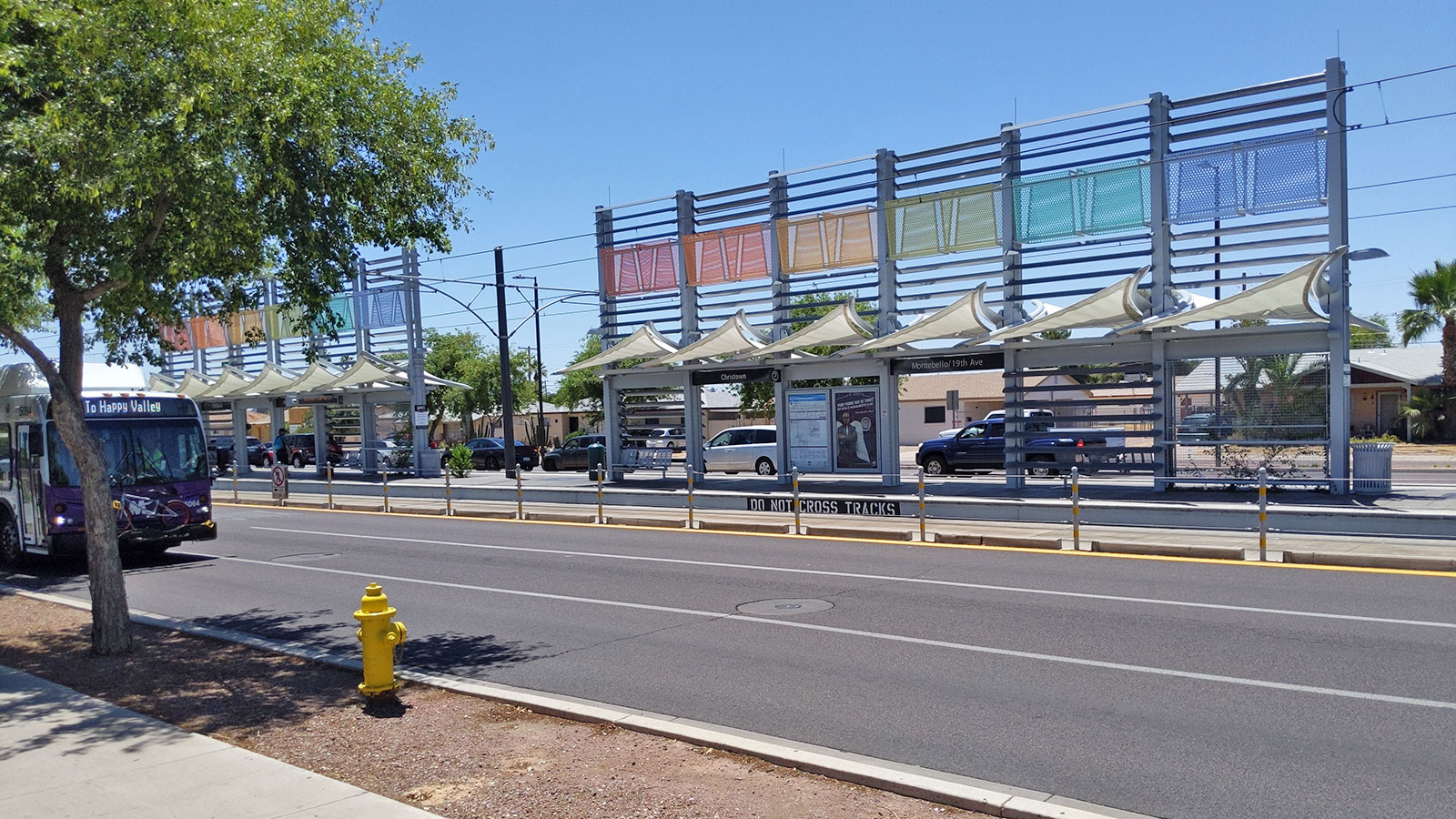 Repainted light rail station at 19th Ave and Montebello
